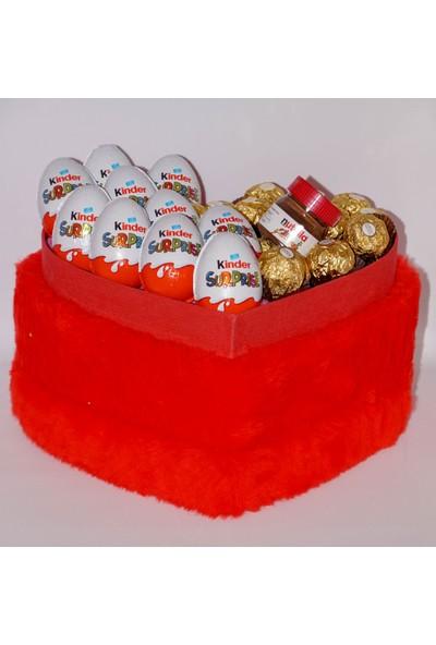 Filika Store Kırmızı Kalpli Büyük Peluş Kutuda Ferrero+Kinder Sürprise+Nutella