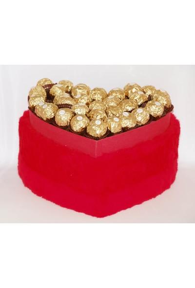 Filika Store Kırmızı Kalpli Büyük Peluş Kutuda Ferrero