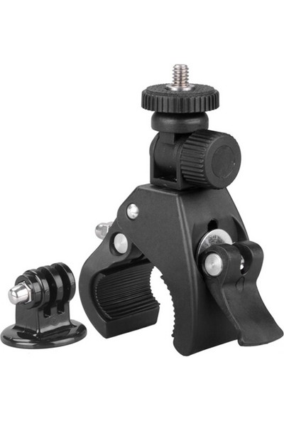 Knmaster Tüm Aksiyon Kameralara Uyumlu Metal Gidon Aparatı + Tripod Adaptörü