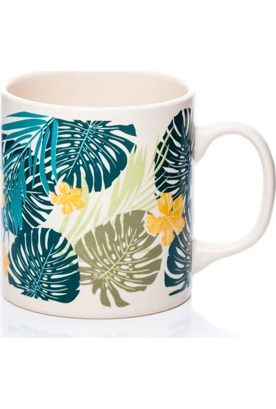 Keramika Tropik Beyaz Yaprak Kupa