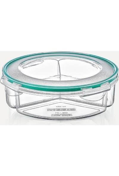 Meleni Home Fresh Box Bölmeli Yuvarlak Sızdırmaz Saklama Kabı 0,45 lt x 3