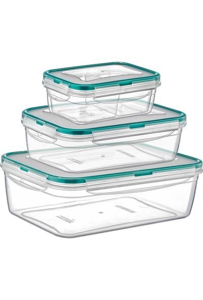 Meleni Home Fresh Box Dikdörtgen Derin Sızdırmaz Saklama Kabı 3 Lü Set