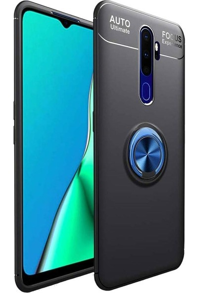 Tbkcase Oppo A9 2020 Ravel Yüzüklü Standlı Silikon Kılıf + Nano Ekran Koruyucu Mavi
