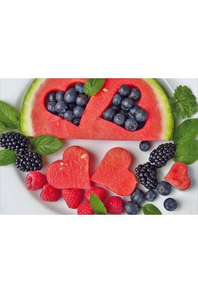 Elf Sevgi Meyveleri Desenli Amerikan Servisi 4'lü