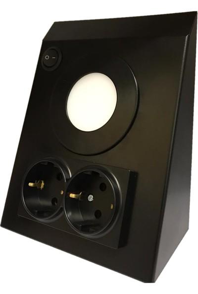 MPM Elektrik Mutfak Tezgah Dolap Altı 3 W LED Aydınlatma Siyah Çift Priz Metal