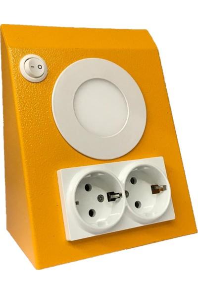 MPM Elektrik Mutfak Tezgah Dolap Altı 3 W LED Aydınlatma Mandalin Çift Priz