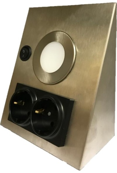 MPM Elektrik Paslanmaz Inox Tezgah Dolap Altı Mutfak Aydınlatma Ikili Priz + 1 W