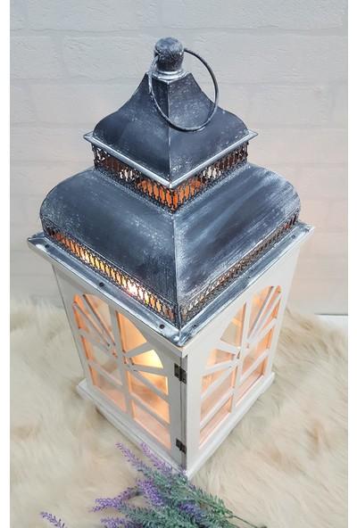 Evim Tatlı Evim Casablanca Metal Çatılı Ahşap Mumluk Fener 55Cm