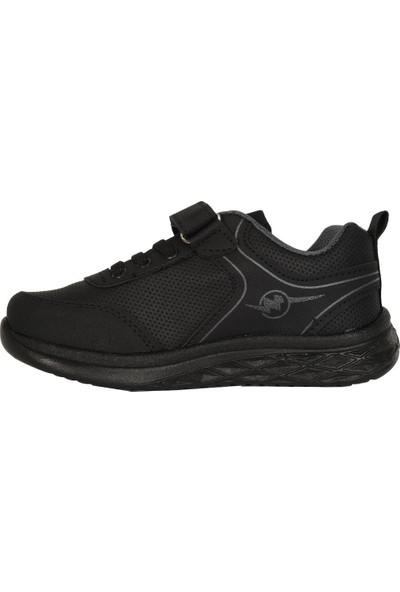 Hammır Cek 058 Siyah-Siyah Cırtlı Erkek Çocuk Spor Ayakkabı