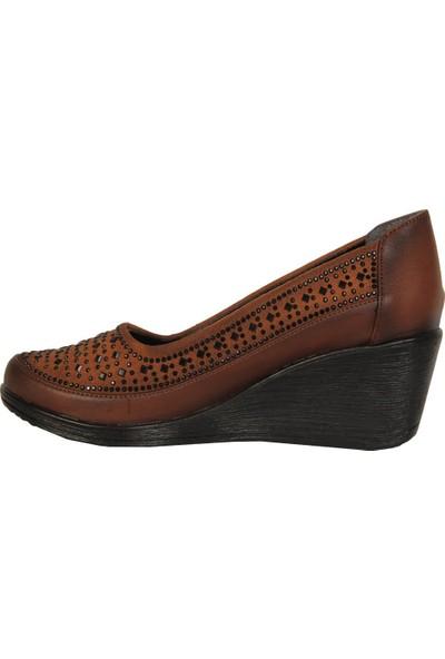 Mavişim 8008 Taba 5,5Cm Dolgu Topuk Kadın Ayakkabı