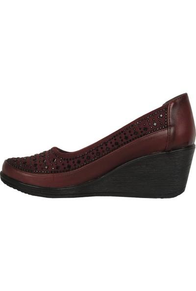 Mavişim 8008 Bordo 5,5Cm Dolgu Topuk Kadın Ayakkabı
