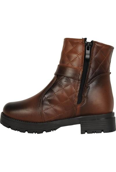Sonimix 3012 Taba Termal Kürklü Kışlık Kız Çocuk Bot Ayakkabı
