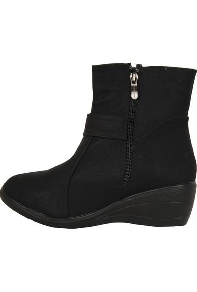 Sonimix 4436-08 Siyah Termal Kürklü Kadın Anne Bot Ayakkabı