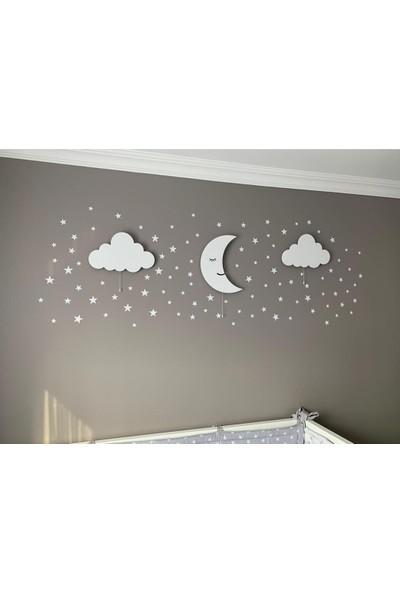 Hepsi Tedarik Iki Bulut Bir Aydede Ahşap Duvar Aydınlatma Seti + 100 Gri Yıldız Sticker Hediyeli