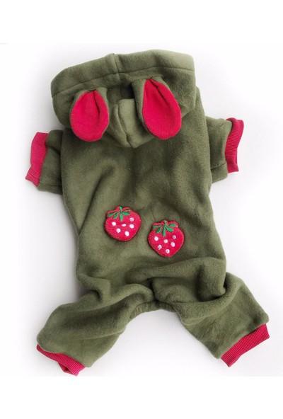 Kemique Strawberry Green Kedi Tulumu Kedi Kıyafeti