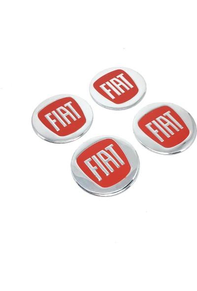 Oto Aksesuarcım Fiat Alüminyum Yapıştırma Jant Göbeği Kırmızı 4'lü 60 mm
