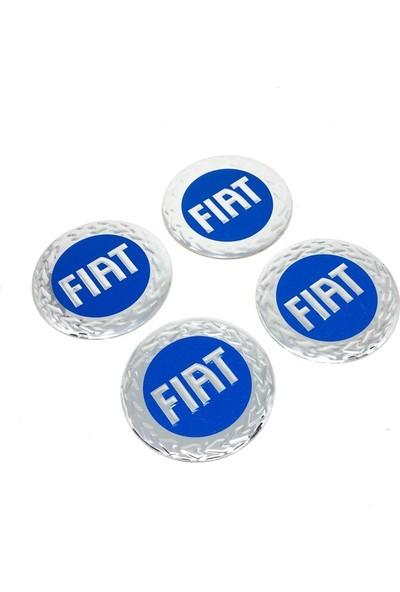 Oto Aksesuarcım Fiat Alüminyum Yapıştırma Jant Göbeği Mavi 4'lü 60 mm