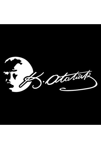 Oto Aksesuarcım K.Atatürk Silüetli İmzalı Oto Sticker Beyaz 20 x 7 cm