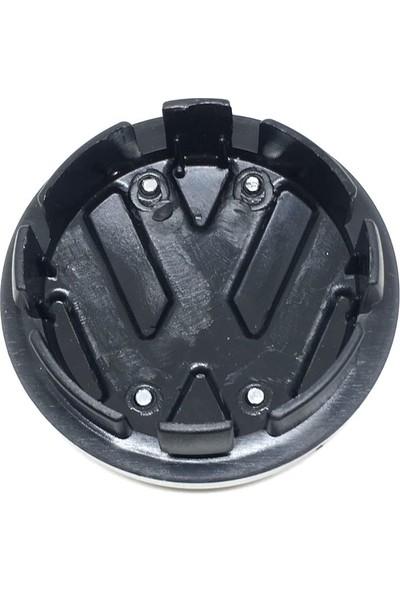 Oto Aksesuarcım Volkswagen Kromlu Geçme Jant Göbeği Siyah 4'lü 57/65 mm VWKR1