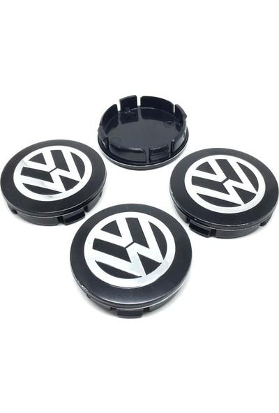 Oto Aksesuarcım Volkswagen Metal Geçme Jant Göbeği Siyah Gri 4'lü 55 mm