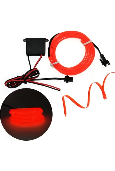 Oto Aksesuarcım Kırmızı-Oranj Fitilli İp Neon Led Torpido Şeridi 5 mt