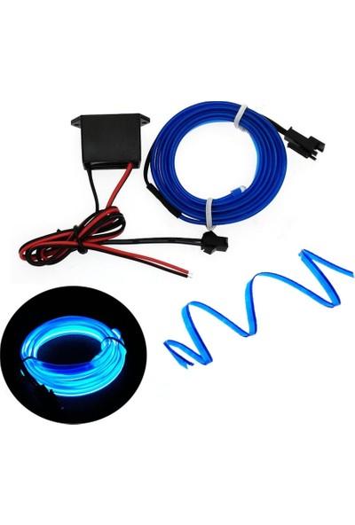 Oto Aksesuarcım Mavi Fitilli İp Neon Led Torpido Şeridi 3 mt