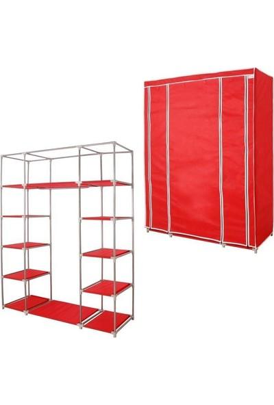 Prado Easy Çelik Profilli Bez Dolap - Kırmızı