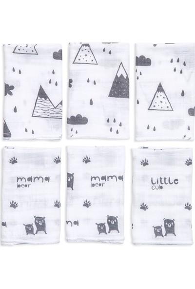 Funna Baby 6'Lı Muslin Ağız Bezi - Mountains - 30x30