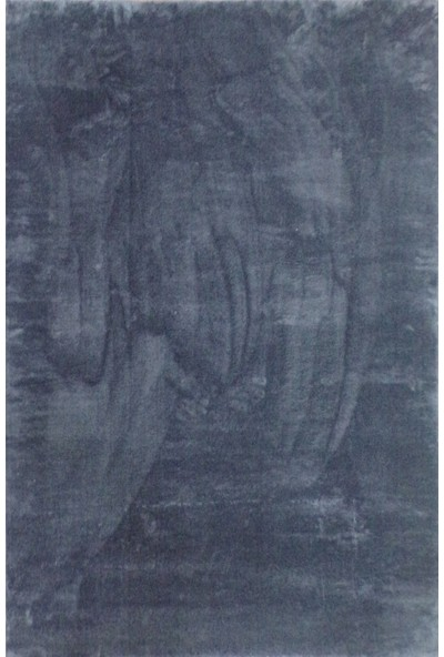 Dekoratif Peluş Halı Uzun Tüylü Yolluk Halı Koyu Gri