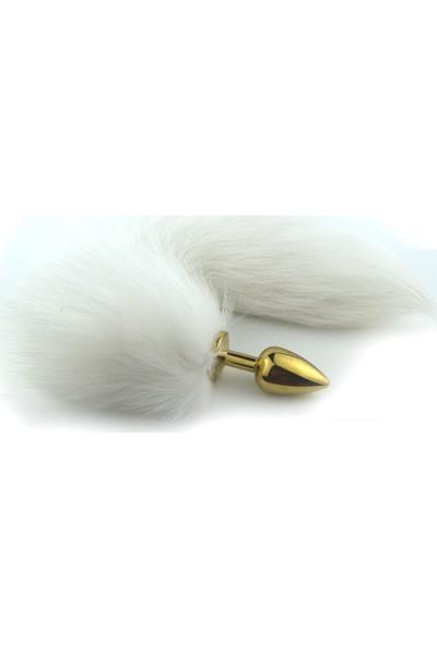 Xise Gold Renk Metal Uzun Kuyruklu Anal Plug Tıkaç Anal Tıpa 7 cm