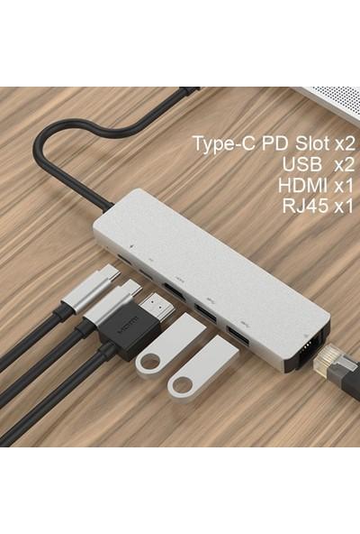 Ally AL-31548 USB Type-C to 6 in 1 HDTV 2 x USB + PD RJ45 HUB Adaptör Çoklayıcı