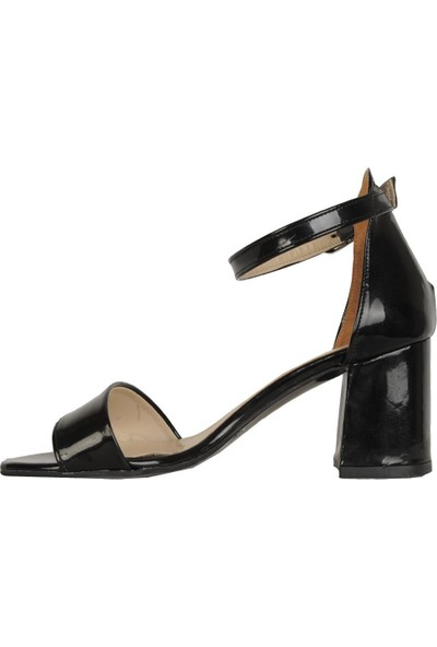 Ayakcenter 5002 Siyah Rugan 6,50Cm Topuk Kadın Sandalet Ayakkabı