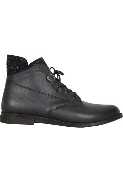 MP 192 8172 Lacivert %100 Deri Kışlık Termal Kadın Bot Ayakkabı