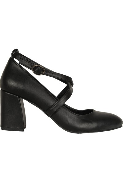 Karıno Siyah Mat 7Cm Kare Topuklu Kadın Abiye Ayakkabı