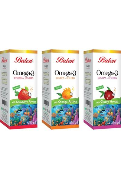 Balen Omega 3 Aromalı Balık Yağı 3 Adet Vişne, Portakal, Çilek