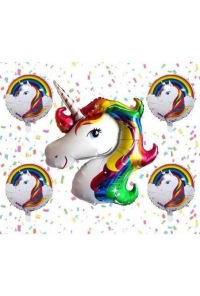 Alpin Unicorn 5'li Uçan Balon Helyum Parti Seti