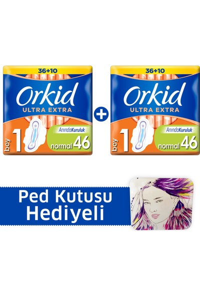 Orkid Ultra Extra Hijyenik Ped Normal Süper Fırsat Paketi 46 Ped x 2 (+Ped kutusu)