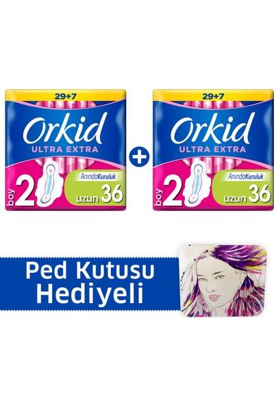 Orkid Ultra Extra Hijyenik Ped Uzun Süper Fırsat Paketi 36 Ped x 2 (+Ped kutusu)