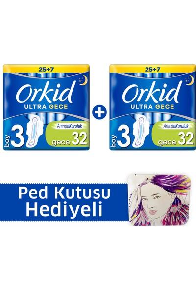 Orkid Ultra Extra Hijyenik Ped Gece Süper Fırsat Paketi 32 Ped x 2 (+Ped kutusu)