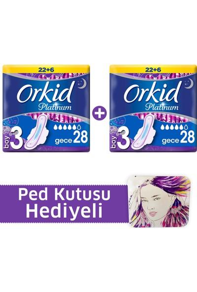 Orkid Platinum Hijyenik Ped Gece Süper Fırsat Paketi 28 Pedx 2 (+Ped kutusu)