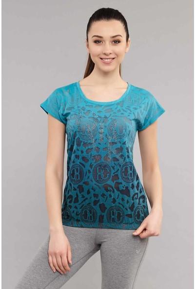 Bilcee Mavi Pamuk/Poly Kadın Tişört ES-4222