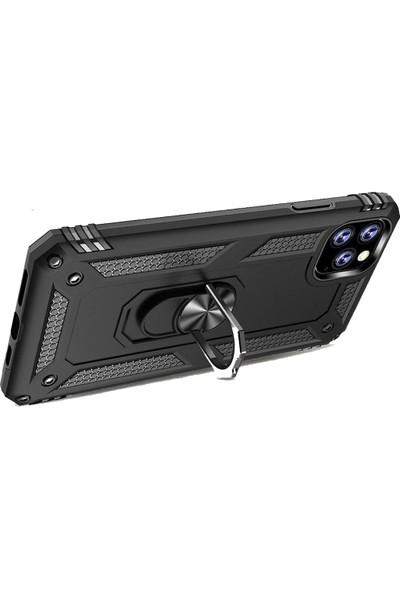 Microcase Apple iPhone 11 Pro Max Anka Serisi Yüzük Standlı Armor Kılıf - Siyah