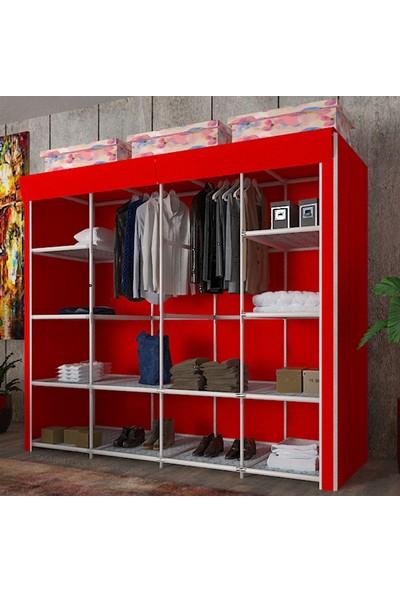 By Damat Bez Dolap 12 Raflı Mega Boy Kırmızı