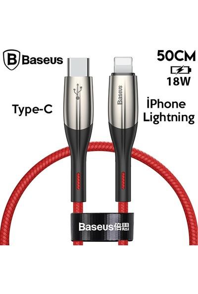 Baseus CATLSP-A09 Horizontal Type-C To iPhone Lightning PD 18W Hızlı Şarj Kablo 0.5 cm Siyah - Kırmızı