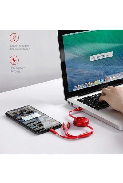 Baseus CAMLT-ZY09 Little Octopus 3in1 Type-C/Lightning/Micro USB Şarj Kablo 1.2 m - Kırmızı