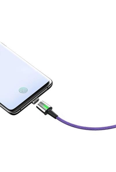 Baseus CALXC-B05 Zinc Magnetic USB Kablo Şarj iPhone Lightning Başlık 2 m 1.5A - Mor