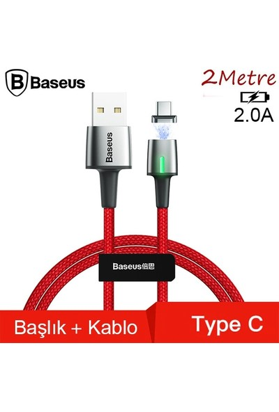 Baseus CATXC-B09 Zinc Magnetic USB Kablo Şarj USB Type-C Başlık 2.0A 2 m - Kırmızı