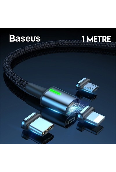 Baseus TZCAXC-A01 Zinc Magnetic USB Şarj Kablosu 3 Başlık iPhone/Micro/Type-C 1 m Siyah - Gri