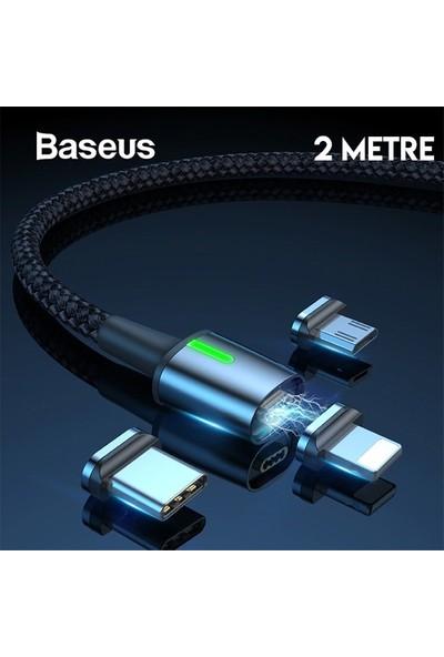 Baseus TZCAXC-B01 Zinc Magnetic USB Şarj Kablosu 3 Başlık iPhone/Micro/Type-C 2 m Siyah - Gri