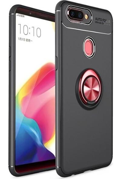 Teleplus Oppo A5s Ravel Yüzüklü Standlı Kılıf Silikon Kılıf + Nano Ekran Koruyucu Siyah - Kırmızı